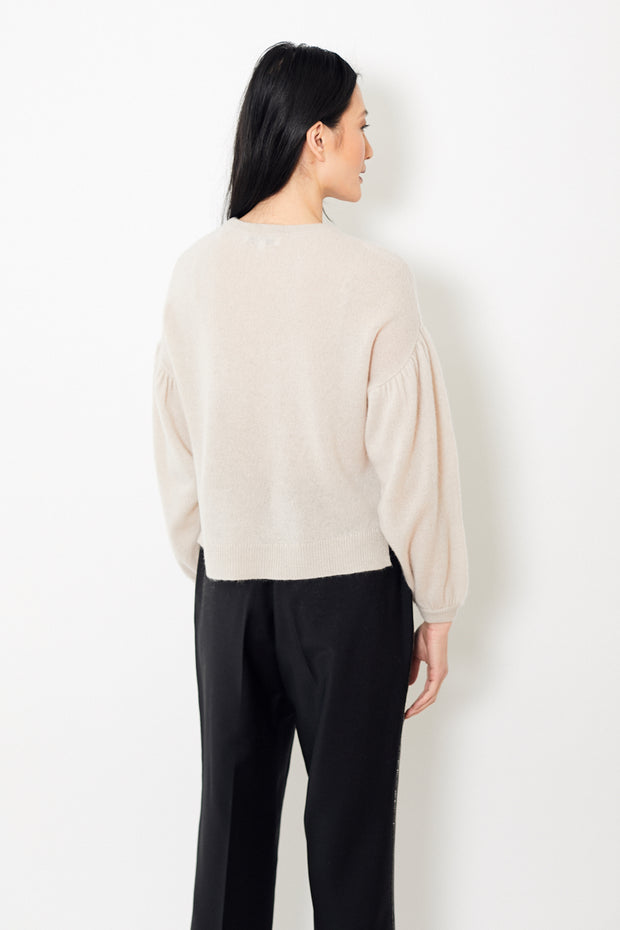 White + Warren Exaggerated Blouson Sleeve Crewneck