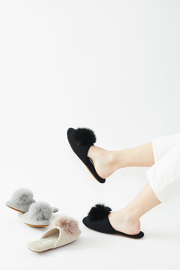 White + Warren Fur Pom Pom Slipper