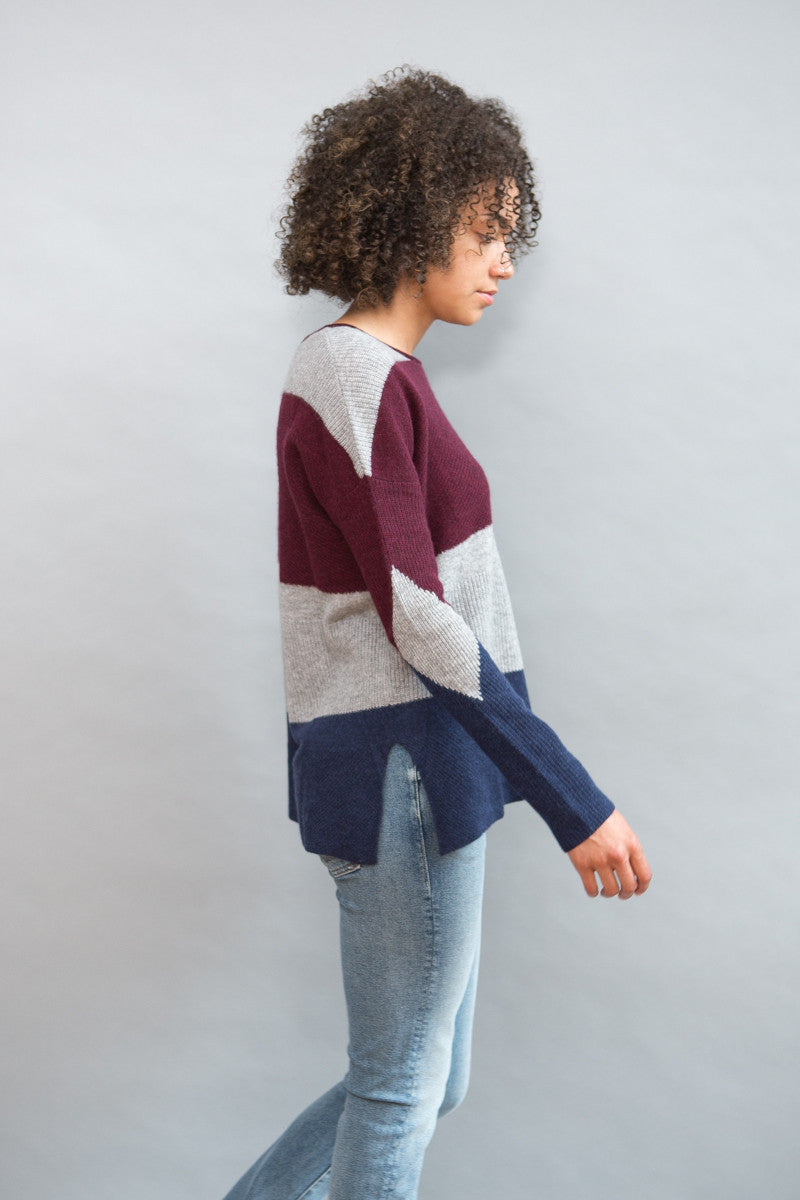 White + Warren Intarsia Open Crewneck - grethen house