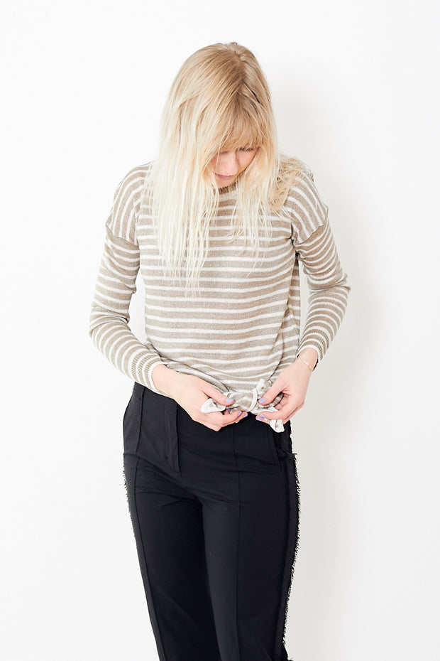 White + Warren Knotted Stripe Crewneck