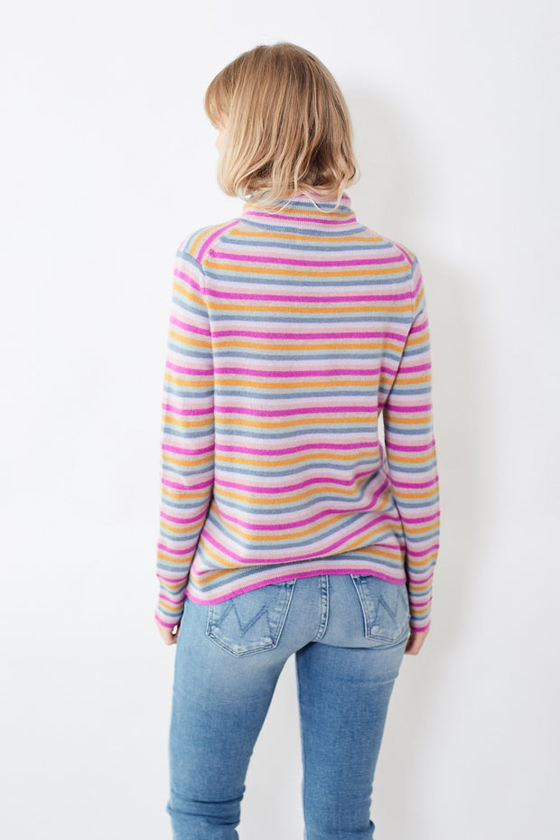 White + Warren Multi Stripe Essential Turtleneck
