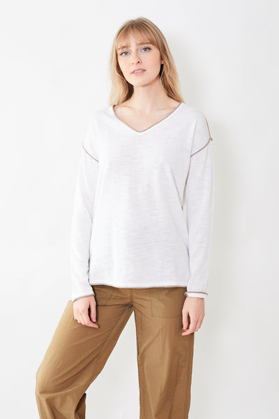 White + Warren Oversized V Neck