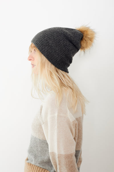 White + Warren Plush Rib Beanie with Pom Pom