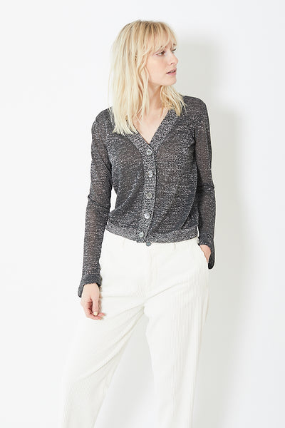 White + Warren Shine Fluted Cuff Cardigan