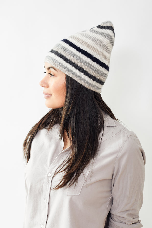 White + Warren Striped Beanie