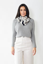 White + Warren  Striped Scarf