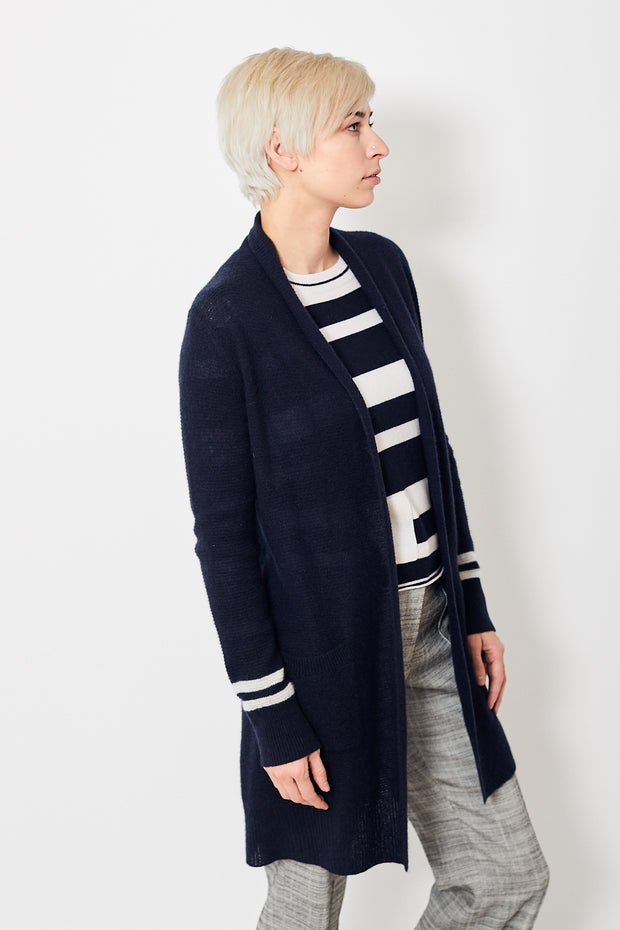 White + Warren Textured Open Cardigan
