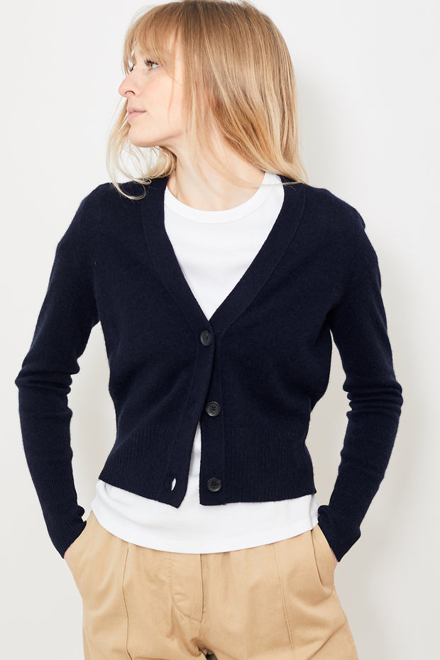 White + Warren  V Neck Cardigan