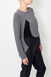Comme des Garçons Worsted Wool Half Cardigan Stitch Cutout Sweater