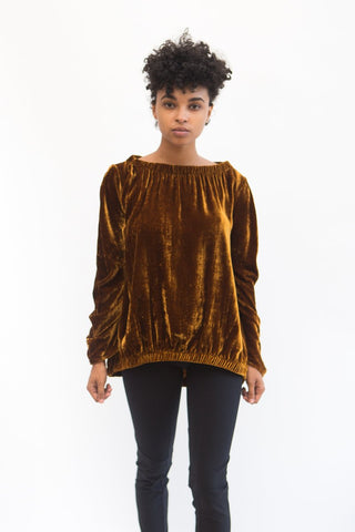 Zero + Maria Cornejo Ruched Bubbble Top in Evening Velvet