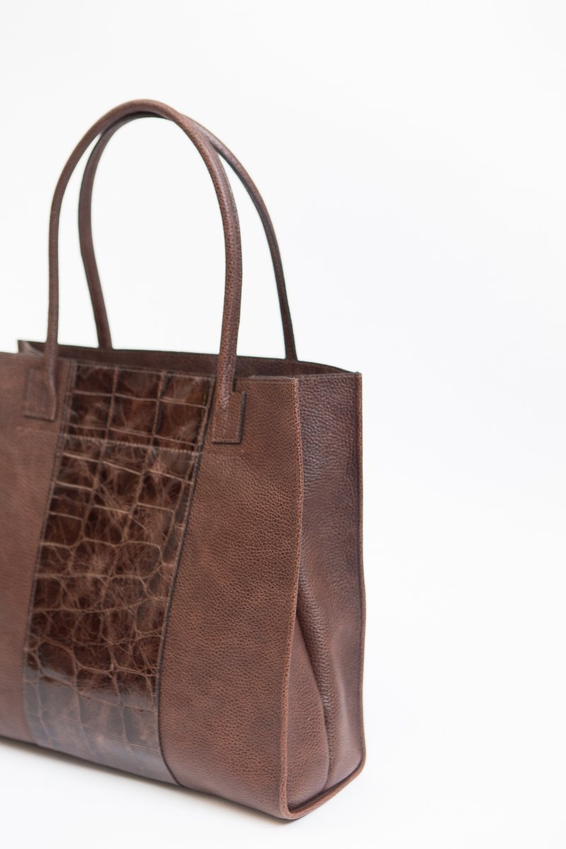 b.may Boxy Tote with Stripe Bark Specialty Sable Embossed Maxi Gator
