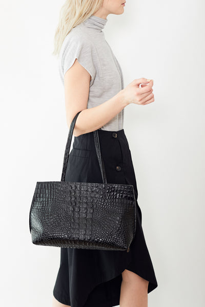 b.may Resort Shopper with Facing Black Embossed Croc