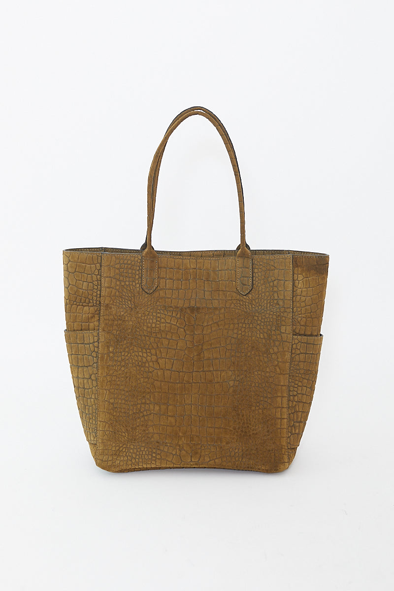 b.may Tall Pocket Tote Suede
