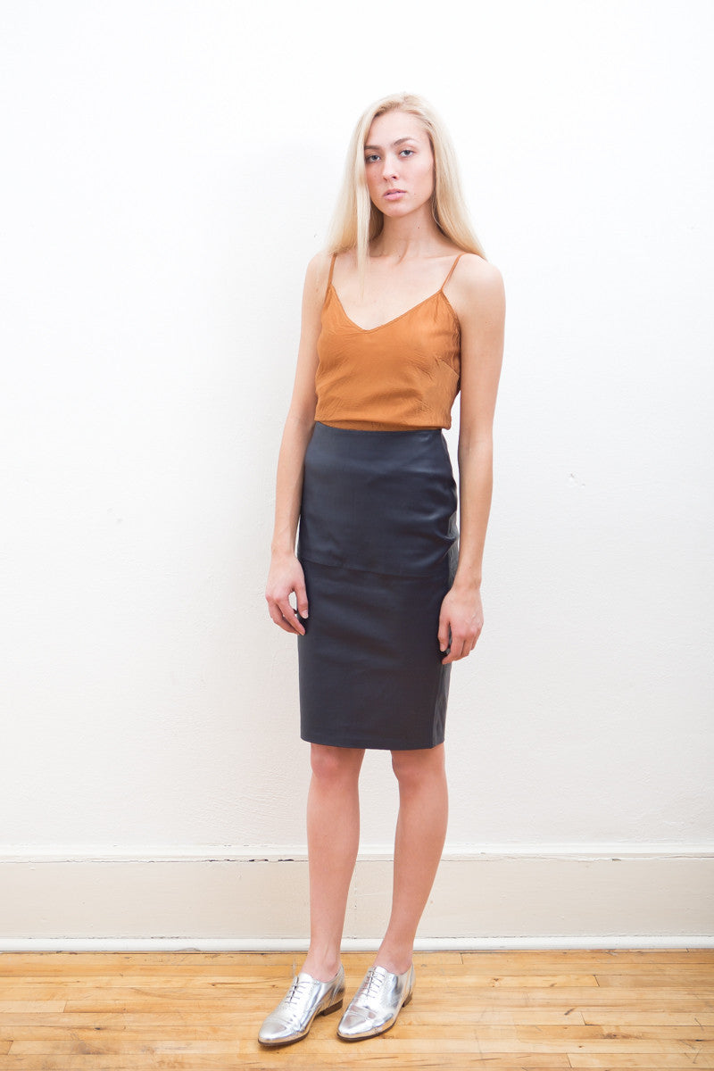 by Malene Birger Stretch Leather Pencil Skirt - grethen house