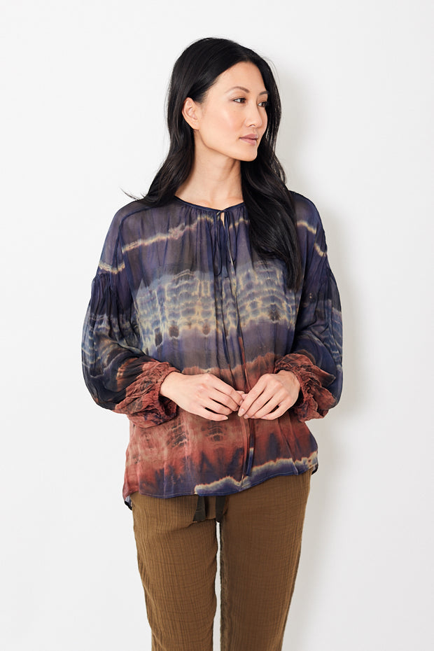 Raquel Allegra Shirred Tie Dye Blouse