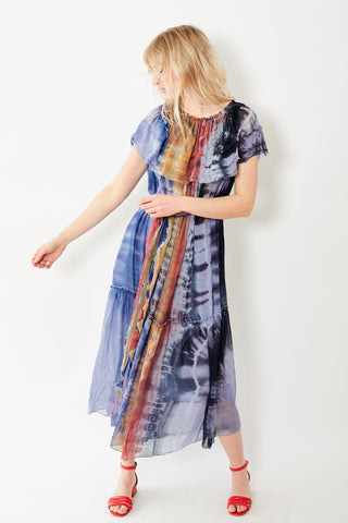 Raquel Allegra Ruffle Maxi Tie Die Dress