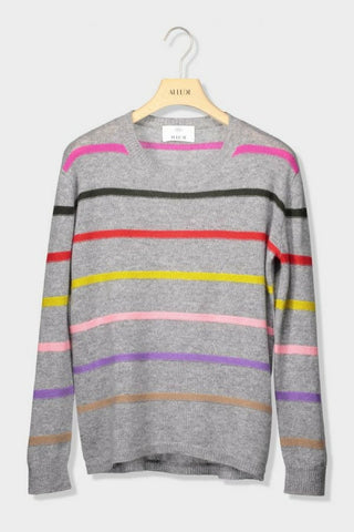 Allude Multi Stripe Crew Sweater