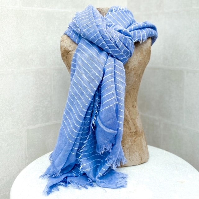 'Denim' & White Stripe Scarf