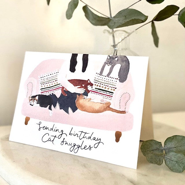 Cat Snuggles Birthday Card