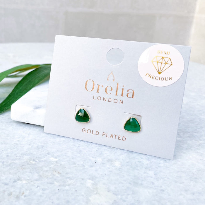 Semi Precious Green stone earrings