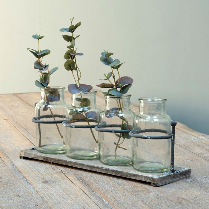 Set 4 Jar Vases on wooden tray