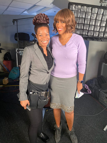 hair stylist for the Grammys, countdown to the Grammys, Gayle King, Sapphire, Hair by Sapphire, Gayle King and Sapphire on Set, wig master, wig guru, wig maker, wig stylist, wigs and hair pieces, celebrity wigs, wigs on celebrities, big hair, big hair pieces, creative hair, beehive hair, big braid, Wigs by Sapphire