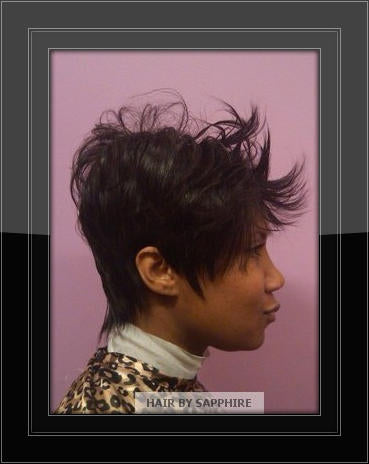 SHORT HAIR CUT WRAP AND CURL AFRICAN AMERICAN BLACK HAIR STYLE HUMAN HAIR EXTENSIONS BY SAPPHIRE OF HAIR BY SAPPHIRE