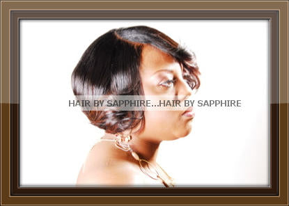 BOB SHORT HAIR CUT WRAP AND CURL AFRICAN AMERICAN BLACK HAIR STYLE HUMAN HAIR EXTENSIONS BY SAPPHIRE OF HAIR BY SAPPHIRE