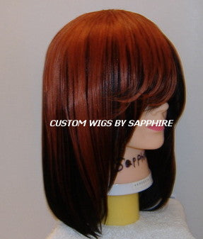 TWO TONED BLACK AND ORANGE GINGER SPICE QUICK WEAVE CUSTOM MADE WIG BY SAPPHIRE OF HAIR BY SAPPHIRE
