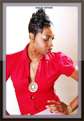 Short Cut and Curl African American Black Hairstyle by Sapphire of Hair by Sapphire