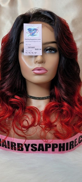 Red and black human hair glueless lace front closure custom wig unit ready to ship Tiffany from Hair by Sapphire