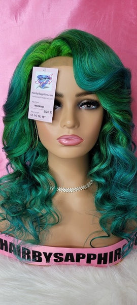 Mermaid teal blue and green human hair lace front closure glueless wig by Sapphire of www.HairbySapphire.com