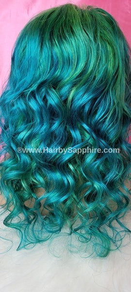 Blue and green mermaid color human hair lace closure Custom wig by Sapphire of www.HairbySapphire.com