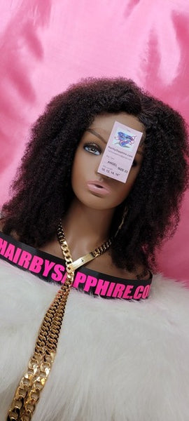 Kinky curly nappy looking african American custom lace front glueless human hair wig