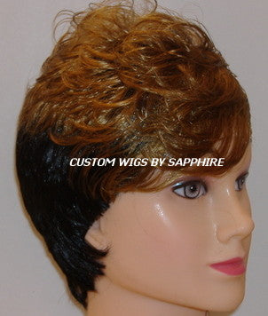 SHORT TWO TONED OMBRE COLOR CUSTOM MADE WIG BY SAPPHIRE OF HAIR BY SAPPHIRE