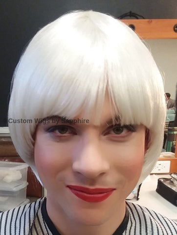 white bob wig, tight bob wig with bang, tight platinum bob with bang wig, tight bob, tight bob wig, wig by Sapphire of Hair by Sapphire