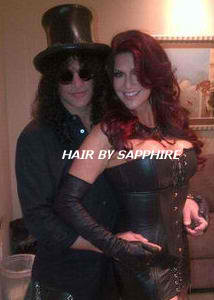 SLASH AND PERLA FERRARA HAIR EXTENSIONS RED HEAD RED HAIR BY SAPPHIRE OF HAIR BY SAPPHIRE