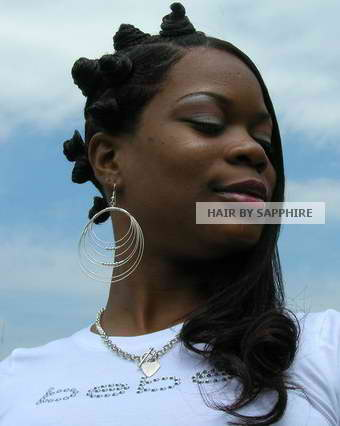 Afrocentric Urban African American Bantu Knots Hairstyle by Sapphire of Hair by Sapphire