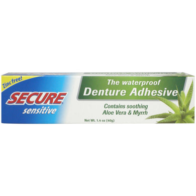 Secure Sensitive Waterproof Denture Adhesive Aloe Vera & Myr