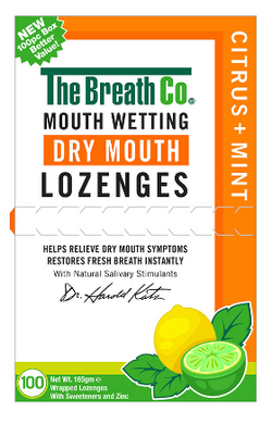 The Breath Co Fresh Breath Dry Mouth Lozenges - Madarin Mint - 100s