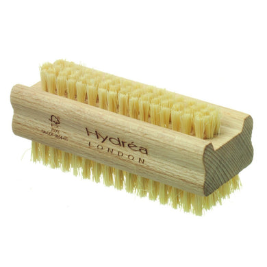 Hydrea London - Natural Sea Sponge Extra Tough Dual Sided Hand & Nail Brush with Cactus Bristles (Hard Strength) - Beechwood