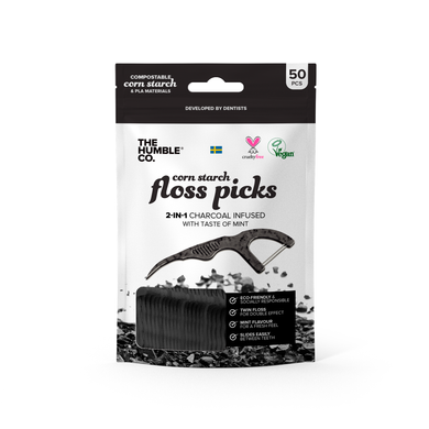 The Humble Co Corn Starch Charcoal 2-in-1 Floss Picks