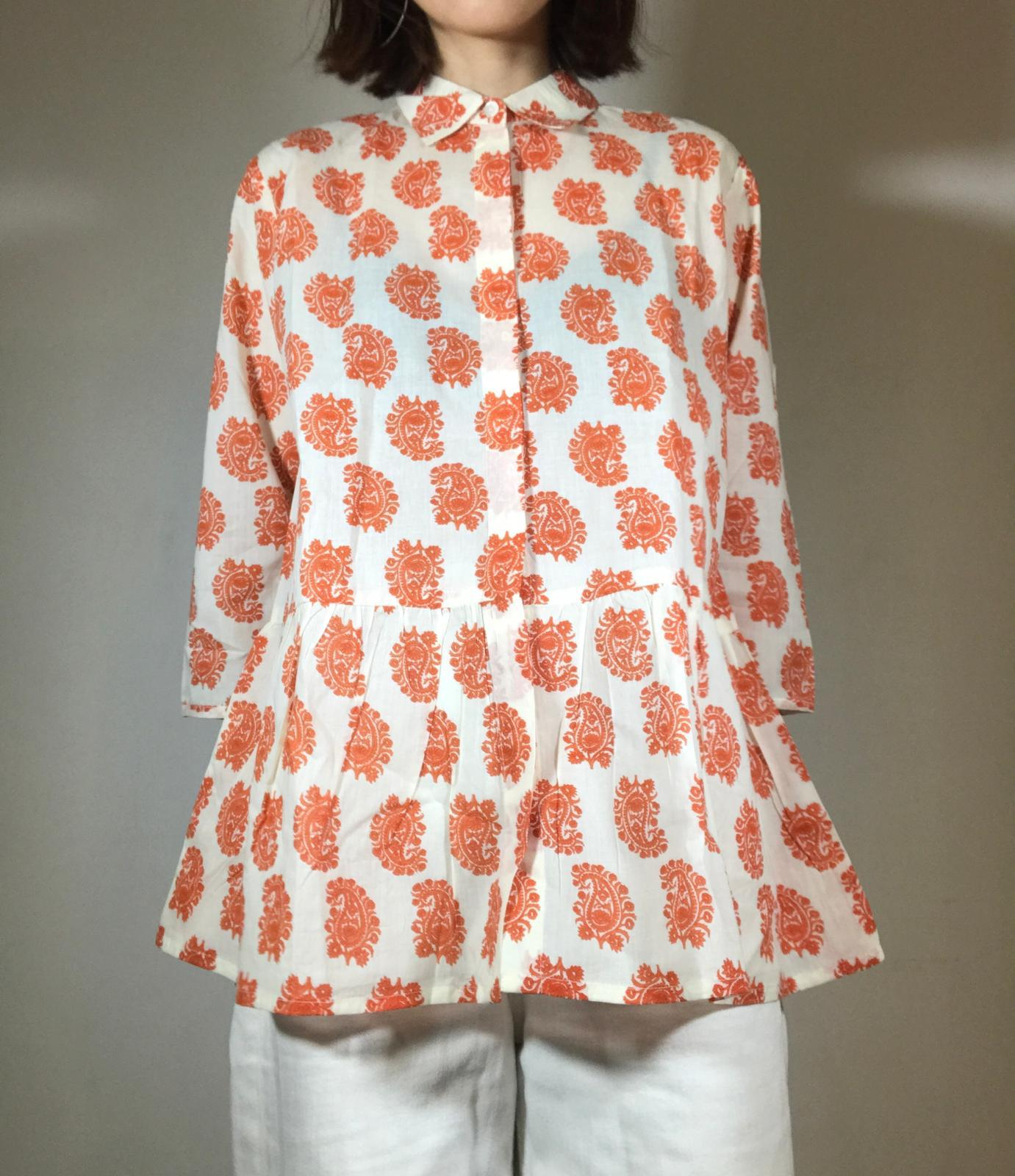 Orange jaipur paisley shirt