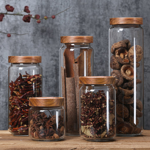 Airtight Wooden Lid Glass Jars