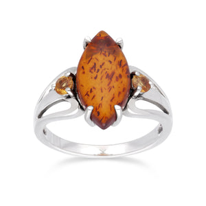 925 Sterling Silver Amber and Citrine Art Nouveau Style Ring