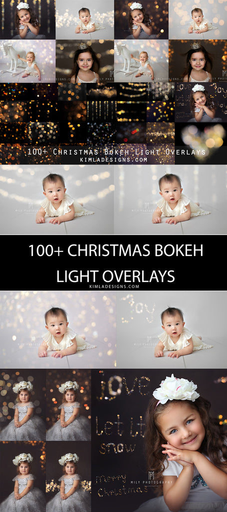 100+ Christmas Gold Bokeh Overlays - Photoshop Overlays, Digital Backgrounds and Lightroom Presets