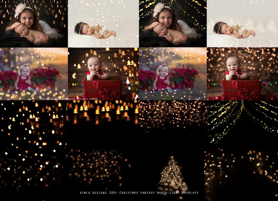 100+ Christmas Fantasy Bokeh Overlays - Photoshop Overlays, Digital Backgrounds and Lightroom Presets