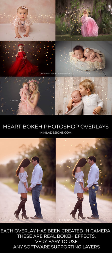 All the Hearts Bokeh Photoshop Overlays