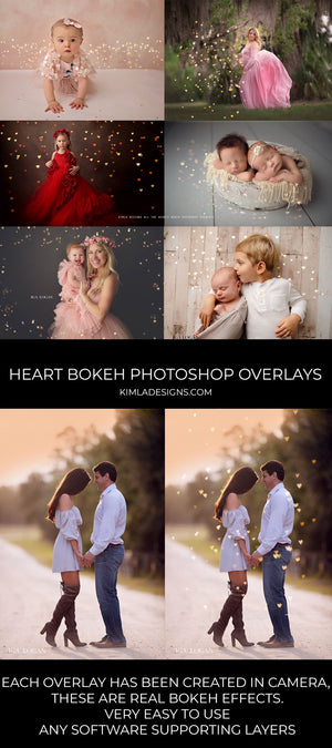 All the Hearts Bokeh Photoshop Overlays - Kimla Designs  Quality Editing Tools for Creative Photographers, Photoshop Overlays, Textures, Photoshop Actions and Templates.