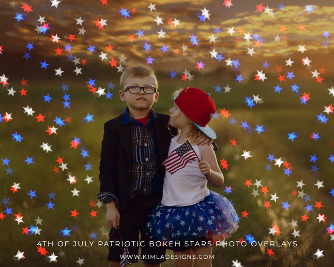 4th of July Patriotic Bokeh Stars Photoshop Overlays - Photoshop Overlays, Digital Backgrounds and Lightroom Presets